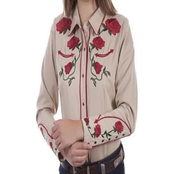 Honey Creek by Scully Western Rose Shirt