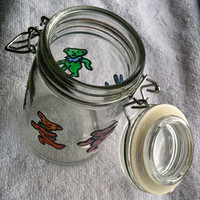 Grateful Dead Marching Bears Herb Jar Hand Painted