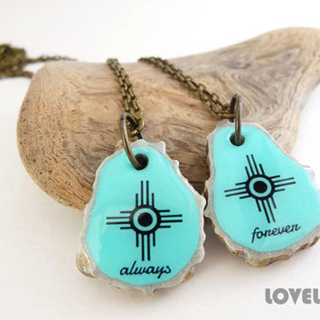 Tribal Happiness BFF Necklace Set, Native American Indian Happy Symbol Necklace, Always Forever Necklace for Best Friends Couples Sisters