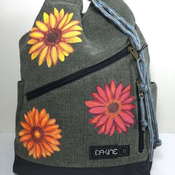 Dakine Cedar Backpack in Moss with Hand Painted Gerbera Daisies in Fall Colors