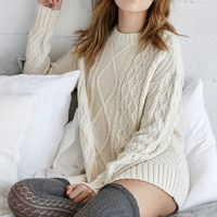 Me To We Chunky Cable Stitch Pullover Sweater at PacSun.com