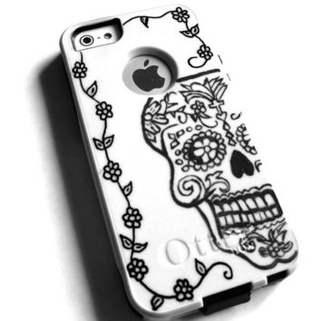otterbox iphone 5s case, Iphone 5 case, Glitter case, Iphone cover, custom otterbox iphone 5, gift,skull iphone 5 case