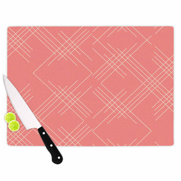 """Famenxt """"All A Blaze Abstract"""" Coral Beige Illustration Cutting Board"""