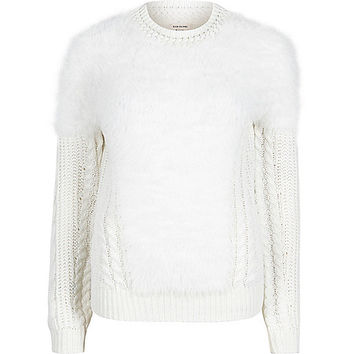Cream fluffy cable knit sweater - sweaters - knitwear - women