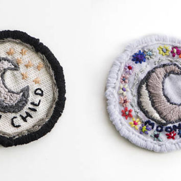 MOON CHILD PATCH - Hand Embroidered Patches, Iron on Patch, Crystal Patch, Boho Chic, Magic, Wiccan, Cross Stitch, Gifts For Teens, Gypsy