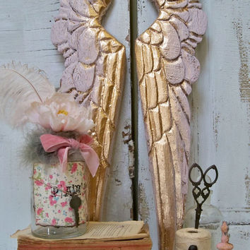 Wood wings pink gold carved French Santos style wooden vignette shelf wall sculpture home decor Anita Spero