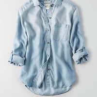 AEO Boyfriend Denim Tencel Shirt, Light Wash