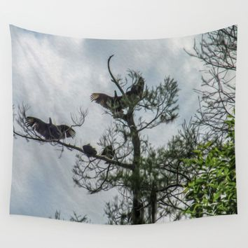 The Vultures are Waiting Wall Tapestry by Gwendalyn Abrams