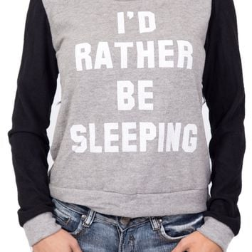I'd Rather Be Sleeping Sweater in Gray and Black