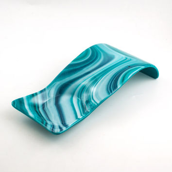 Fused Glass Spoon Rest, Modern Design, Pillar Candle Holder, Turquoise Kitchen Decor, Countertop Display, Utensil Holder, Kitchen Gifts