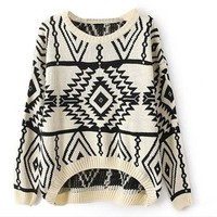 Vobaga Women's Long Sleeve Geometric Pullovers Sweater White, One Size