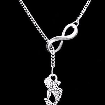 Infinity Koi Fish Japanese Peace Lariat Necklace