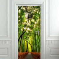 """Door wall sticker cover bamboo forest green trees way 30x79"""""""