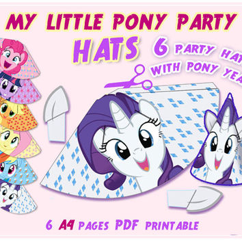 My Little Pony Party Hats, Party printables, party supplies, birthday party, kids party, Pinkie Pie, Twilight, labels,digital, paper PDF