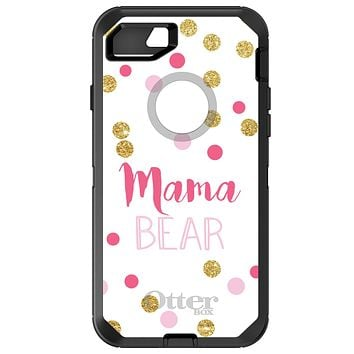 "DistinctInk™ OtterBox Defender Series Case for Apple iPhone / Samsung Galaxy / Google Pixel - Pink White Gold ""Mama Bear"""