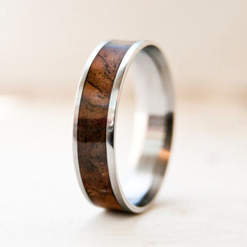 Mens Wood Wedding Band - Titanium Ring or SIlver Ring