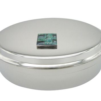 Square Green Computer Circuit Pendant Oval Trinket Jewelry Box