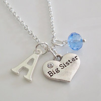 Big Sister Necklace, Initial Necklace, Heart Necklace, Personalized Necklace, Silver necklace, Birthstone Necklace, Sister Gift