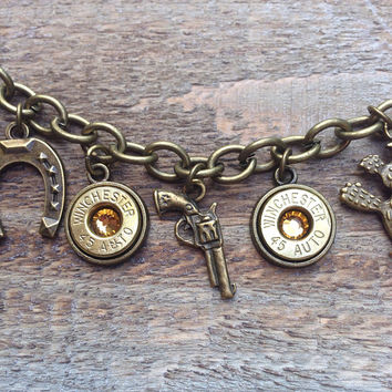 Bullet jewelry. Western themed charm bracelet with bullet casings