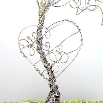 Tree Wedding Cake Topper Personalized Sculpture with Your Initials in a Heart