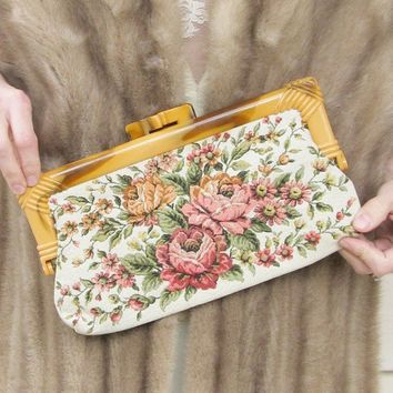 Vintage 1950's ROSE Carpet Clutch Purse Bakelite by JLVintage