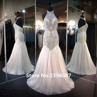 Fashion Luxury Beaded and Crystal Mermaid Evening Dresses Long 2017 Sexy Backless Halter Neck Prom Dresses robe de soiree 2017