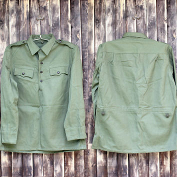 Vintage man's Bulgarian army shirt field shirt military shirt olive green canvas shirt military jacket camo army shirt Halloween costume