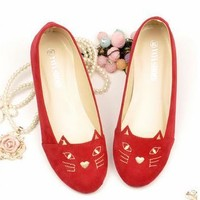 Cute Cat Red Flats from Franny's s Finds