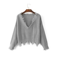 Pullover V-neck Ladies Irregular Sweater [188223291418]