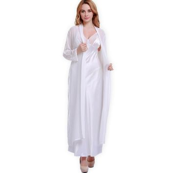 Fashion New Silk Robes+ Nightgowns Women Sexy Suspender Silk Satin Lace Pajamas Robe Sets Bathrobe Loungewear 5 Colors