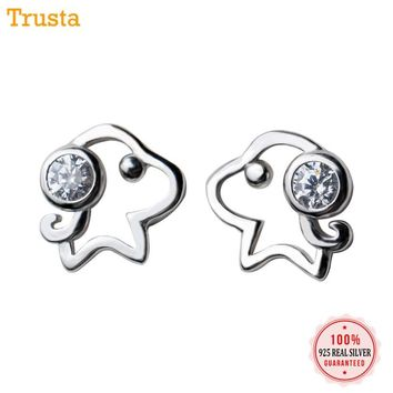 Trusta 2018 100% 925 Sterling Silver Fashion Women's Jewelry 8mmX8mm Small Dog  CZ Stud Earring Gift For Girls Kids Lady DS540