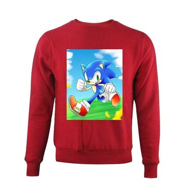 Sonic the Hedgehog Printing Women Men Sweatshirt Pullover Red Long Sleeve Hoody Round Neck Casual Fall Ladies Sweat Shirts