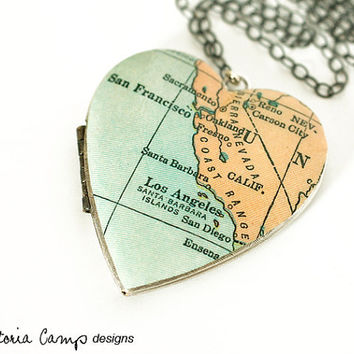 California Map Necklace, Large Vintage Silver Heart Locket,  Antique Map, Los Angeles, San Francisco, San Diego, Oakland, Santa Barbara