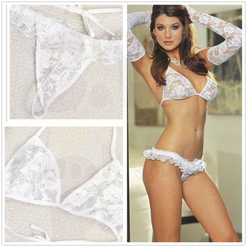 New Fashion Women Lace Halter Bikini / Underwear G-string Bra Sets 2PCS