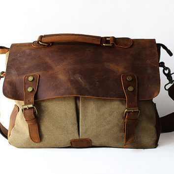 Army green Genuine Cow Leather bag /canvas Briefcase / leather canavs bag/ satchel/Messenger bag / Laptop bag / Men's leather canvas Bag