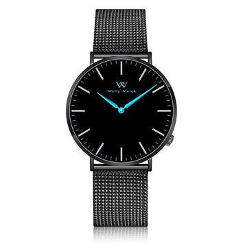 Welly Merck Swiss Movement Sapphire Crystal Men Luxury Watch Minimalist Ultra Thin Slim Analog Wrist Watch 20mm Black Stainless Steel Mesh Band Blue Hands 42mm Dial 164ft Water Resistant