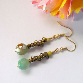 Agate Stone Chain Earrings, long dangling, boho, casual