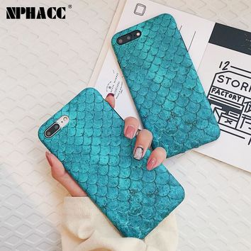 NPHACC For iPhone 8 plus Case Fashion Colorful 3D Scales Phone Cases For iPhone 6 6s 7 Case Mermaid Cover For iPhone X 6 6s Plus