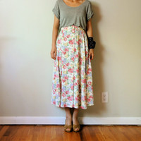 vintage women pastel white red peach pink yellow floral printed a line high waisted buttons front pleated midi ankle long full skirt (large)