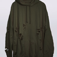 Olive Hand Distressed Oversized Hoodie