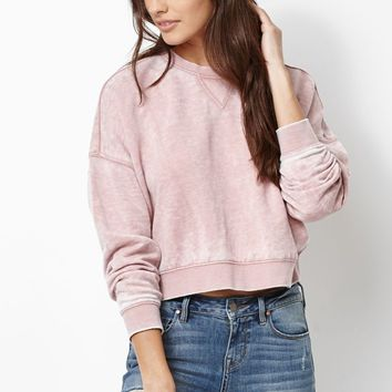 Kendall & Kylie Relaxed Cropped Crew Neck Sweatshirt - Womens Hoodie