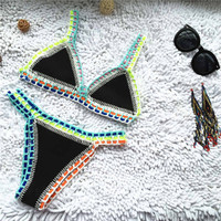 Sexy Handmade Crochet Bikini Set Fashion 2016 Female Bathing Suit Swimwear Women Neoprene Swimsuit Maillot De Bain Biquini
