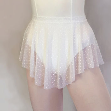 White Swiss Dot Sheer Mesh Ballet Skirt - Polka Dot Skirt SAB Style- Royall Dancewear
