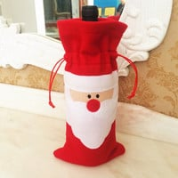 Santa Claus Red Wine Bottle Cover Bags Dinner Table Christmas Decoration For Home Party Decors Christmas Supplier
