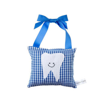 Boys Tooth Fairy Pillow: Blue Gingham