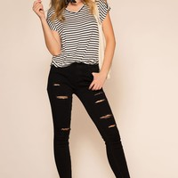 Alter Your Mood Distressed Jeans - Black