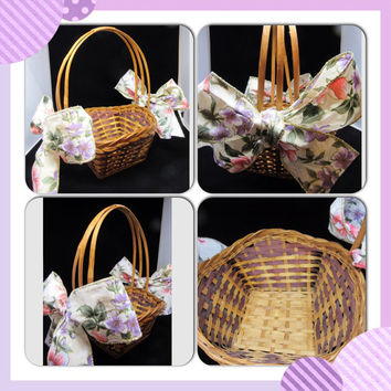 Unique Vintage Woven Flower Girl Basket-Large Purple and Orange Floral Bows-Wedding Decor-Country Decor-Home Decor-Storage-Gift-Centerpiece
