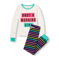 Girls Long Sleeve '#Not A Morning Girl' Graphic Top And Striped Pants PJ Set | The Children's Place