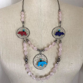 Vintage Unique Rare Native American Pink Quarts Sterling Silver Beaded Dream Catcher Fetish Charm Necklace