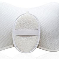 Luxury Spa BATH PILLOW by Home Prime Fits Any Bathtub / Hot Tub / Jacuzzi with 2 Strong Suction Cups - Large & Soft, Shoulder & Neck Support. Comes with SPONGE LOOFAH.